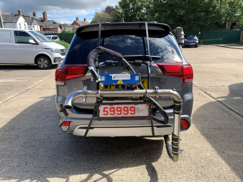 A Mitsubishi Outlander plug-in hybrid is pictured while undergoing tests by Emissions Analytics for a study on emissions by NGO Transport & Environment