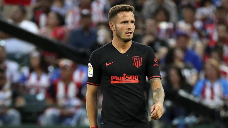 Jul 23, 2019; Arlington, TX, USA; Atletico Madrid midfielder Saul Niguez (8) in action during the   Kevin Jairaj-USA TODAY Sports