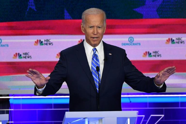 Former US vice president Joe Biden, the frontrunner in the Democratic presidential primary race, faced repeated assaults from other candidates in their party's first debate (AFP Photo/SAUL LOEB)