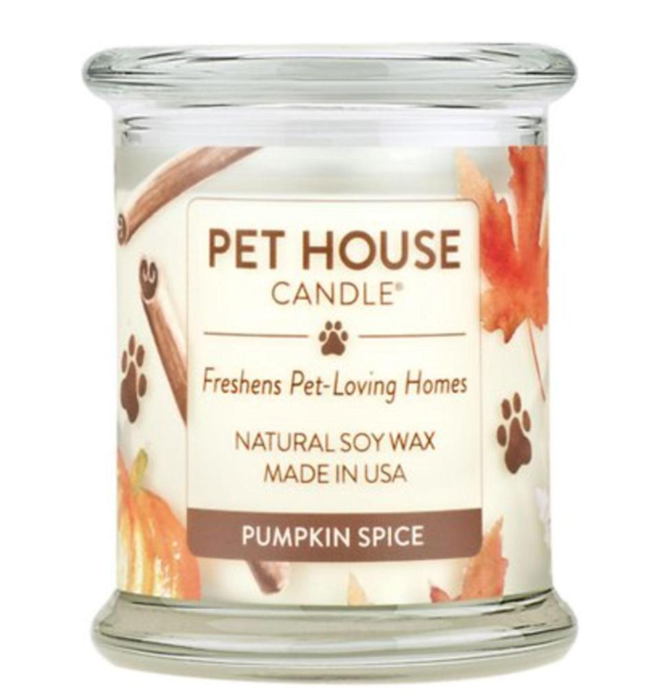 """<p>Eliminate pesky pet odors and fill a room with the sweet smell of pumpkin spice by lighting a single wick. </p> <p><strong>Buy it!</strong> Pet House Pumpkin Spice Natural Soy Candle, $21.95; <a href=""""https://www.jdoqocy.com/click-8029122-14324438?sid=POGiftforDogOwnersObsessedwithPumpkinSpicedLattesKBender0921&url=https%3A%2F%2Fwww.chewy.com%2Fpet-house-pumpkin-spice-natural-soy%2Fdp%2F154612"""" rel=""""nofollow noopener"""" target=""""_blank"""" data-ylk=""""slk:Chewy.com"""" class=""""link rapid-noclick-resp"""">Chewy.com</a></p>"""