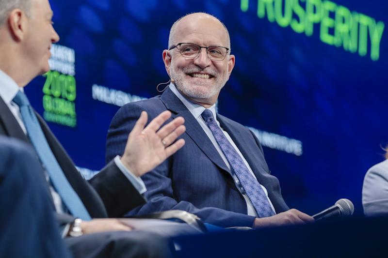 Jeffrey L. Harmening, chairman and chief executive officer of General Mills Inc., smiles during the Milken Institute Global Conference in Beverly Hills, California, U.S., on Monday, April 29, 2019. The conference brings together leaders in business, government, technology, philanthropy, academia, and the media to discuss actionable and collaborative solutions to some of the most important questions of our time. Photographer: Kyle Grillot/Bloomberg via Getty Images