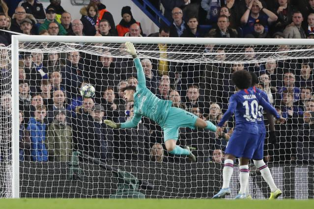 Hakim Ziyech's stunning set piece then curled off the far post and into the net, via Kepa's face. (AP Photo/Frank Augstein)