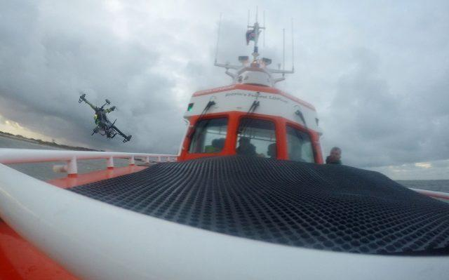 A drone takes off from a lifeboat at Caister in Norfolk