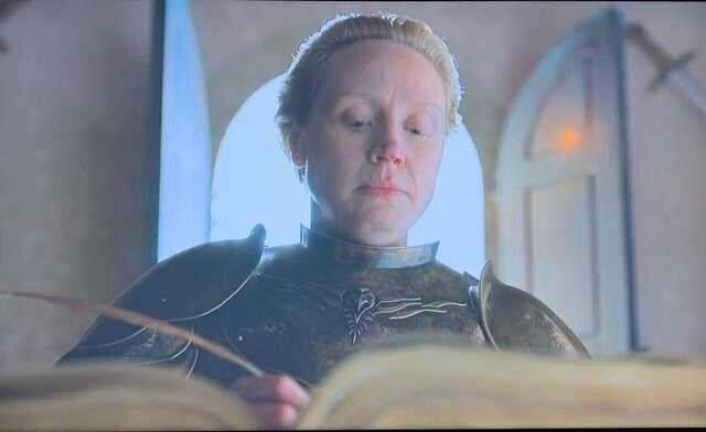 Ser Brienne sporting Bran's new sigil.  (Photo: HBO)