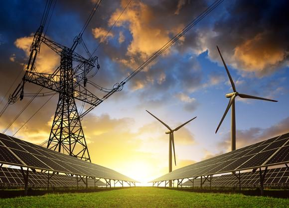 Solar panels, wind turbines, and transmission lines at sunset