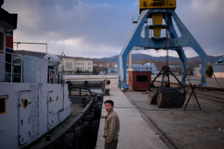 Hobbled by sanctions: a boat at quayside in North Korea's Rajin