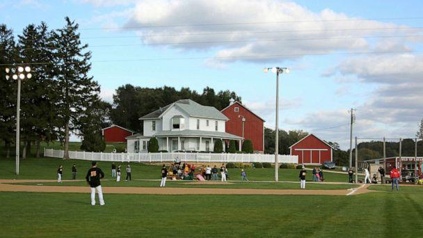 PHOTO: In this Oct. 2, 2014, file photo, teams play at the 'Field of Dreams' during a fall tournament in Dyersville, Iowa. (Dave Kettering/Telegraph Herald via AP)