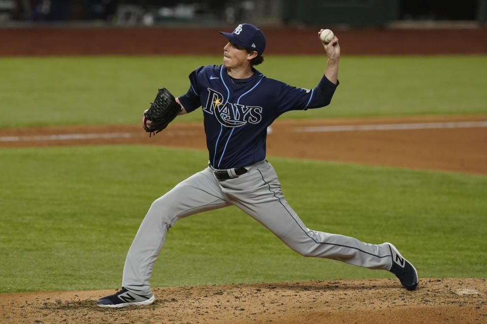 Tampa Bay Rays starting pitcher Ryan Yarbrough throws against the Los Angeles Dodgers during the fifth inning in Game 1 of the baseball World Series Tuesday, Oct. 20, 2020, in Arlington, Texas. (AP Photo/Eric Gay)