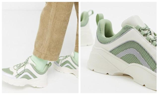 Monki chunky trainers in mint green