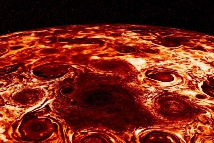 People were struck by how much a picture of Jupiter's cyclones lookes like a pepperoni pizza: NASA/JPL-Caltech/SwRI/ASI/INAF/JIRAM