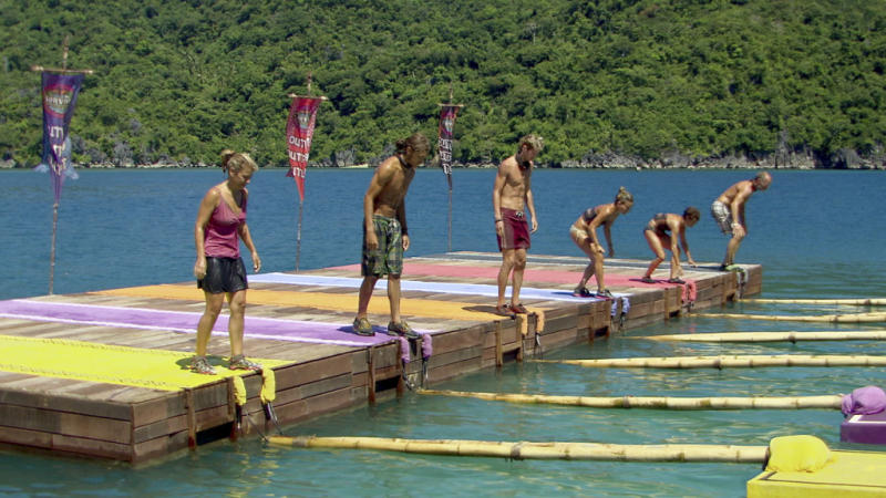 """Lisa Whelchel, Malcolm Freberg, Carter Williams, Abi-Maria Gomes, Denise Stapley and Michael Skupin in the """"Survivor: Philippines"""" episode, """"Shot into Smithereens."""""""
