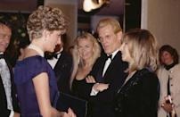 <p>A simple, yet elegant, velvet embroidered jacket was Barbra Streisand's outfit of choice when meeting Princess Diana at the premiere of <em>The Prince of Tides.</em></p>