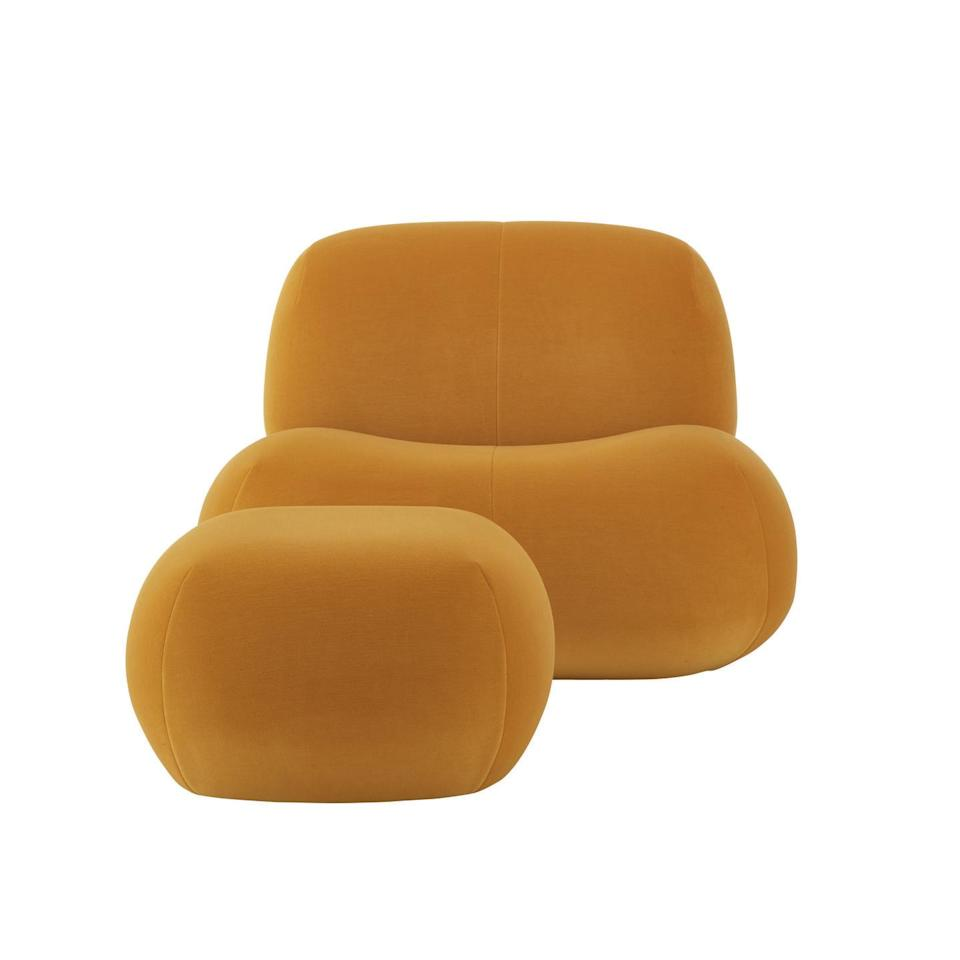 """<p>Known for iconic designs including the 'Togo' and 'Pumpkin' sofas, Ligne Roset has form when it comes to playful seating shapes. Its new collection, 'Pukka' – designed by Canadian duo Yabu Pushelberg – fits right in. With its voluptuous curves and low-slung lines, it offers a fresh take on the brand's best-loved pieces. Armchair in 'Gentle' stretch velvet, £1,514, <a href=""""https://www.ligne-roset.com/uk/"""" rel=""""nofollow noopener"""" target=""""_blank"""" data-ylk=""""slk:ligne-roset.com"""" class=""""link rapid-noclick-resp"""">ligne-roset.com</a></p>"""