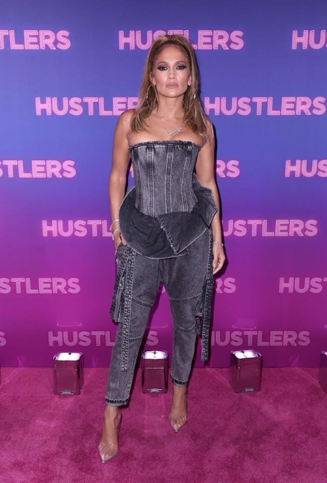 <p>Completely decked out in head-to-toe denim thanks to designer Alexander Wang, she appears at a special screening of<em> Hustlers</em> in New York City. </p>