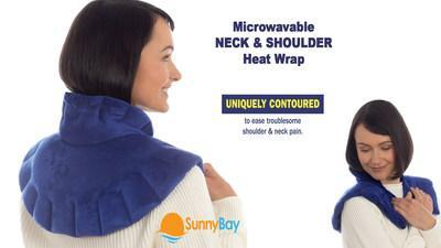 The microwavable neck and shoulder heat wrap is both weighted and contoured to stay put and ease radiating headaches, arthritis, and muscle stiffness simultaneously in both the neck and shoulder region. Never slowing the user down, the hot/cold compress can rest easily on your neck and shoulders while watching television, working at a desk, or hunched over a laptop.