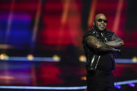Flo Rida performs during rehearsals for the San Marino entry at the Eurovision Song Contest at Ahoy arena in Rotterdam, Netherlands, Friday, May 21, 2021. (AP Photo/Peter Dejong)