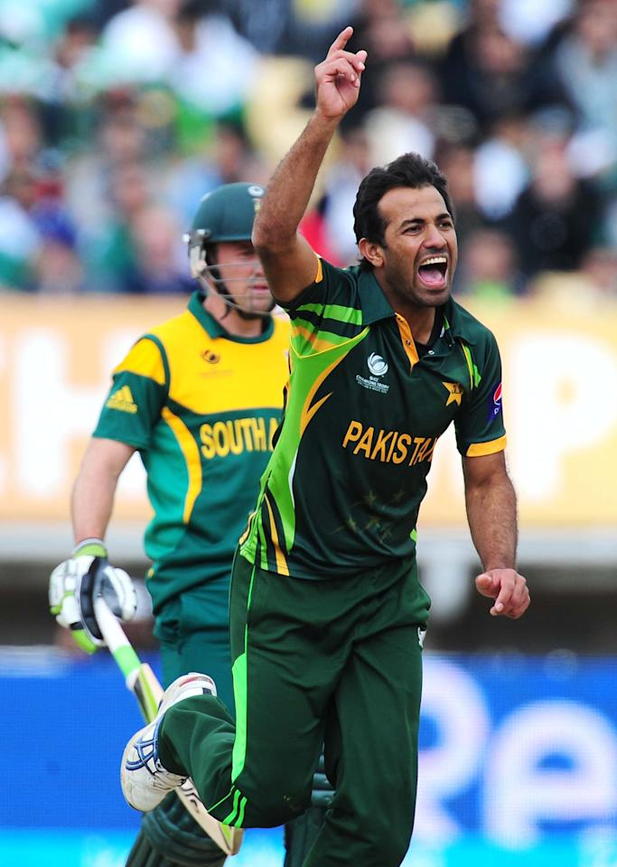 Pakistan's Wahab Riaz during the ICC Champions Trophy match at Edgbaston, Birmingham.