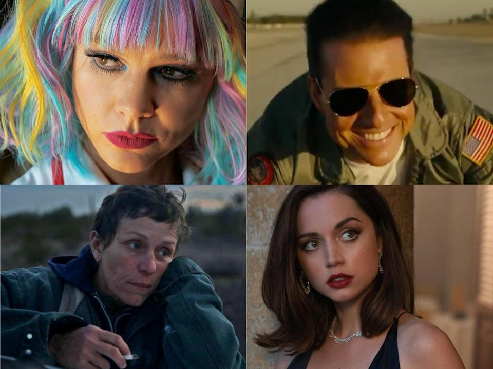 <p>Clockwise from top left: Promising Young Woman, Top Gun: Maverick, No Time to Die and Nomadland</p> (Searchlight/Neon/Paramount/MGM)