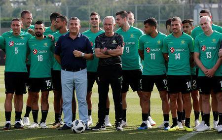 Soccer Football - FIFA World Cup - Australia Training - Antalya, Turkey - May 29, 2018 Australia coach Bert van Marwijk and players before training REUTERS/Murad Sezer