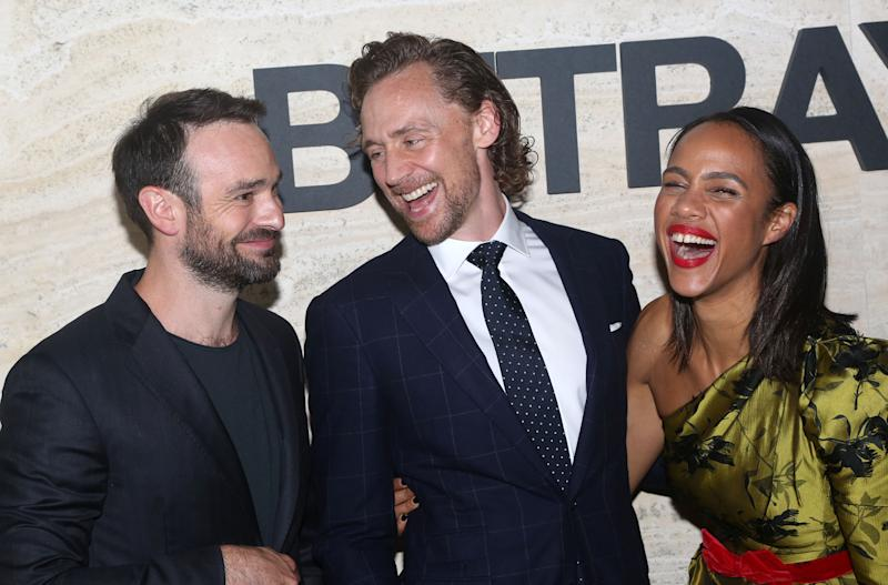 "NEW YORK, NY – SEPTEMBER 5: (L-R) Charlie Cox, Tom Hiddleston, Zawe Ashton pose at The Opening Night Party for ""Betrayal"" on Broadway at THE POOL at the Seagram Building on September 5, 2019 in New York City. (Photo by Bruce Glikas/WireImage)"