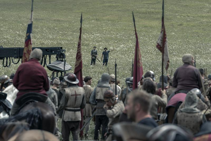 It was important for Crombie to create visual cohesiveness between the living quarters and the outdoor battle scenes in the film.