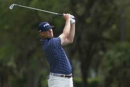FILE PHOTO: Apr 20, 2019; Hilton Head, SC, USA; Trey Mullinax hits from the fairway of the eighth hole during the third round of the RBC Heritage golf tournament at Harbour Town Golf Links. Mandatory Credit: Joshua S. Kelly-USA TODAY Sports