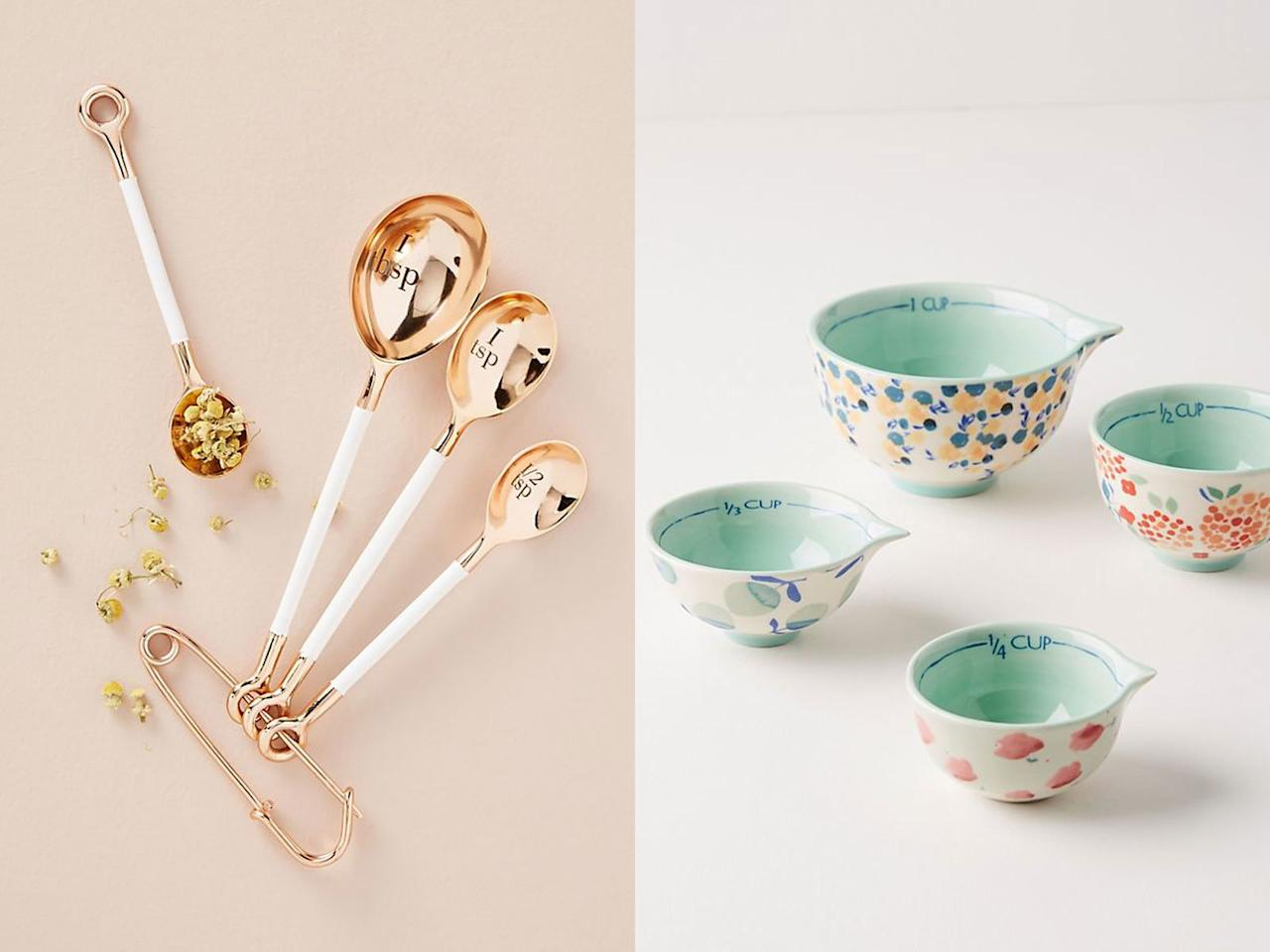 """<p>A quirky and gorgeous pair from Anthropologie, these 4 piece sets include easy to read measure markings and pour spouts on the cups for low-mess baking with liquid ingredients.</p> <p><em>Delaney Measuring Spoons, Set of 4, $28 at <a href=""""https://click.linksynergy.com/deeplink?id=93xLBvPhAeE&mid=39789&murl=https%3A%2F%2Fwww.anthropologie.com%2Fshop%2Fdelaney-measuring-spoons-set-of-4%2B&u1=FW%2Cmeasuring-cups-spoons-delilah-FT-BLOG0819.jpg%2Cmsoll1271%2C%2CIMA%2C1371916%2C201908%2CI,FW"""" target=""""_blank"""">anthropologie.com</a><br /> Delilah Measuring Cups, Set of 4, $32 at <a href=""""https://click.linksynergy.com/deeplink?id=93xLBvPhAeE&mid=39789&murl=https%3A%2F%2Fwww.anthropologie.com%2Fshop%2Fdelilah-measuring-cups-set-of-4&u1=FW%2Cmeasuring-cups-spoons-delilah-FT-BLOG0819.jpg%2Cmsoll1271%2C%2CIMA%2C1371916%2C201908%2CI,FW"""" target=""""_blank"""">anthropologie.com</a></em></p>"""