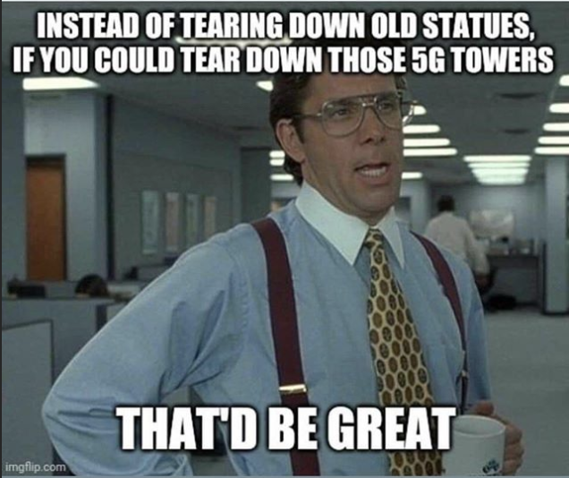 Pete shared a meme suggesting people tear down 5G towers instead of statues of people who were involved with slavery and other racist behaviours. Photo: Instagram/Pete Evans