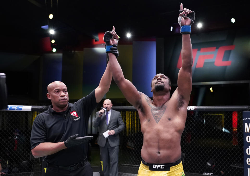 LAS VEGAS, NEVADA - MARCH 13: Ryan Spann reacts after his knockout victory over Misha Cirkunov of Latvia in a light heavyweight fight during the UFC Fight Night event at UFC APEX on March 13, 2021 in Las Vegas, Nevada. (Photo by Jeff Bottari/Zuffa LLC via Getty Images)