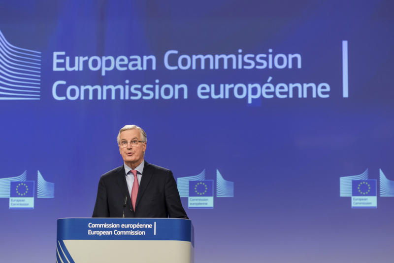 European Union chief Brexit negotiator Michel Barnier addresses the media on Brexit at EU headquarters in Brussels on Friday Feb. 9, 2018. The EU and Britain conducted a seventh round of Brexit negotiations on Friday. (AP Photo/Geert Vanden Wijngaert)