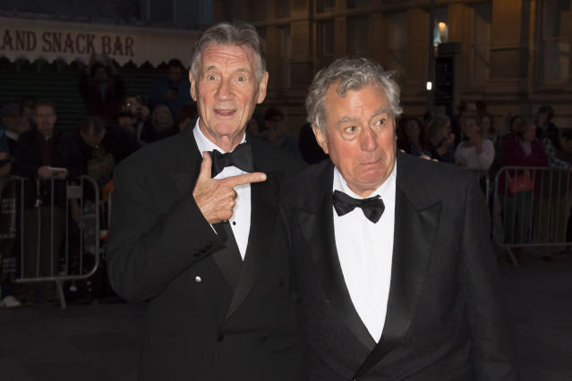 CARDIFF, WALES - OCTOBER 02: Michael Palin (L) and Terry Jones arrive for the 25th British Academy Cymru Awards at St David's Hall on October 2, 2016 in Cardiff, Wales. (Photo by Matthew Horwood/Getty Images)