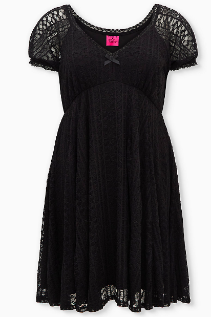 Black Lace Puff Sleeve Sweetheart Skater Dress (Photo via Torrid)