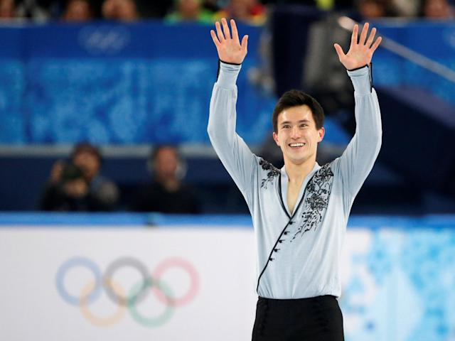 FILE PHOTO: Canada's Patrick Chan finishes his figure skating men's free skating program at the Sochi 2014 Winter Olympics, in Sochi, Russia, February 14, 2014. REUTERS/Lucy Nicholson/File Photo
