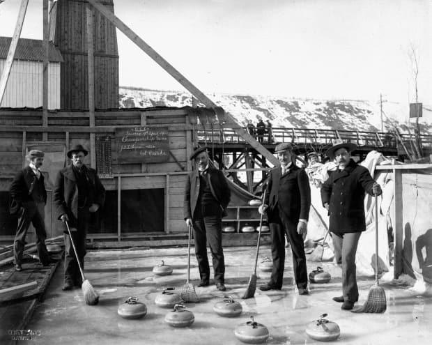 Members of Dawson City's original curling club played outside in April 1900.