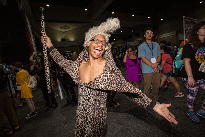 """Cosplayer Lequan Bennett dressed as Ruby Rhod from the movie """"The Fifth Element."""""""
