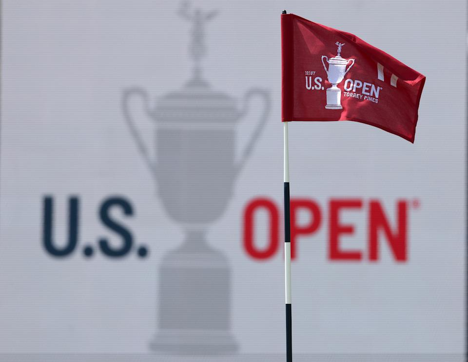 SAN DIEGO, CALIFORNIA - JUNE 15: A general view of a flag and signage is seen on the 17th green during a practice round prior to the start of the 2021 U.S. Open at Torrey Pines Golf Course on June 15, 2021 in San Diego, California. (Photo by Harry How/Getty Images)