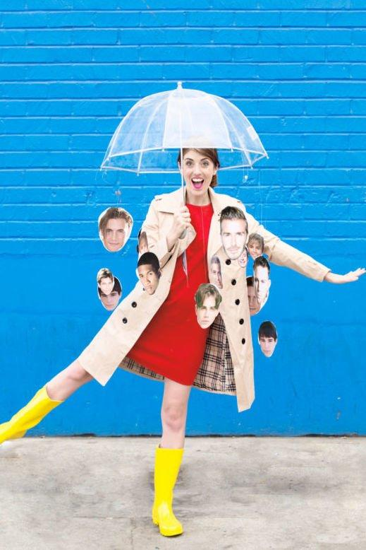 "<p>Wear your favorite heartthrobs all night long with this ""It's Raining Men!"" costume. Your printer will work harder than you have to.</p> <p><b><i><a href=""https://studiodiy.com/2016/10/18/diy-raining-men-costume/"" target=""_blank"">Get the tutorial at Studio DIY</a></i></b></p>"