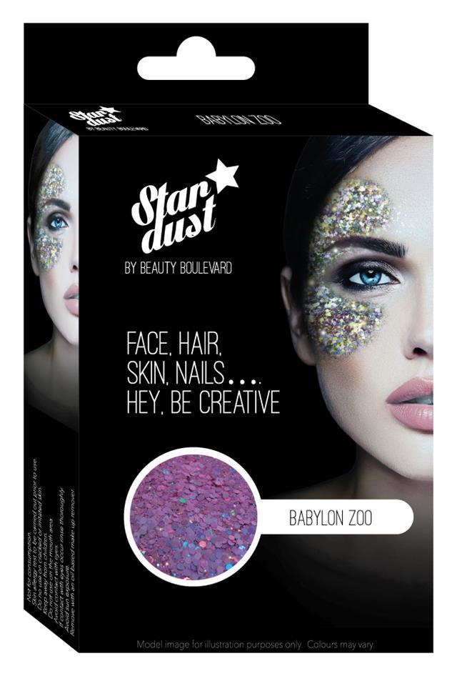 """<p>The glitter in this Stardust is a mix of chunky and fine particles which ensure fearless shimmer with consistent coverage. Just apply the binding gel before brushing the glitter on with abandon.<br /><a rel=""""nofollow"""" href=""""https://beautyblvd.com/shop/stardust/"""">Buy here</a><br /></p>"""