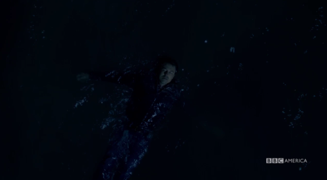 Mark floats in the water. (Photo: BBC America)