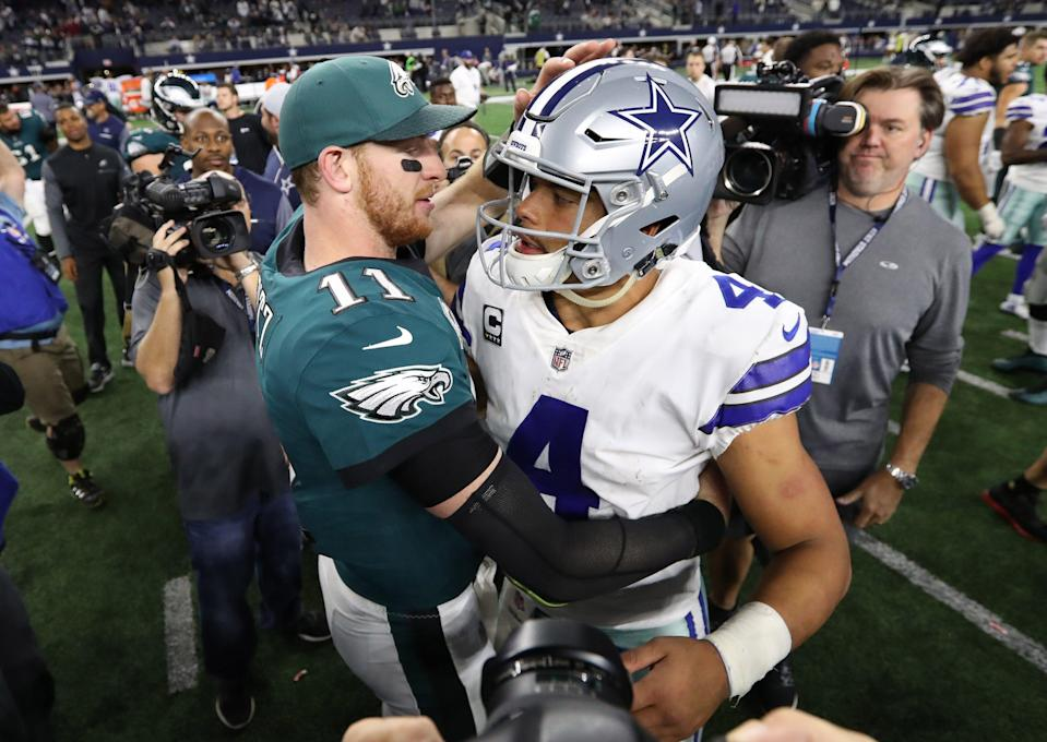 The 2021 NFL season will find former Eagles QB Carson Wentz (11) on a new team while hopefully featuring newly extended Cowboys QB Dak Prescott in far more than five games.