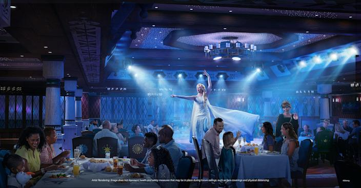 "Arendelle: A Frozen Dining Adventure is Disney's first ""Frozen""-themed theatrical dining experience that will bring the world of Arendelle to life through immersive live entertainment — featuring favorite characters like Elsa, Anna, Kristoff and Olaf — and world-class cuisine infused with Nordic influences."