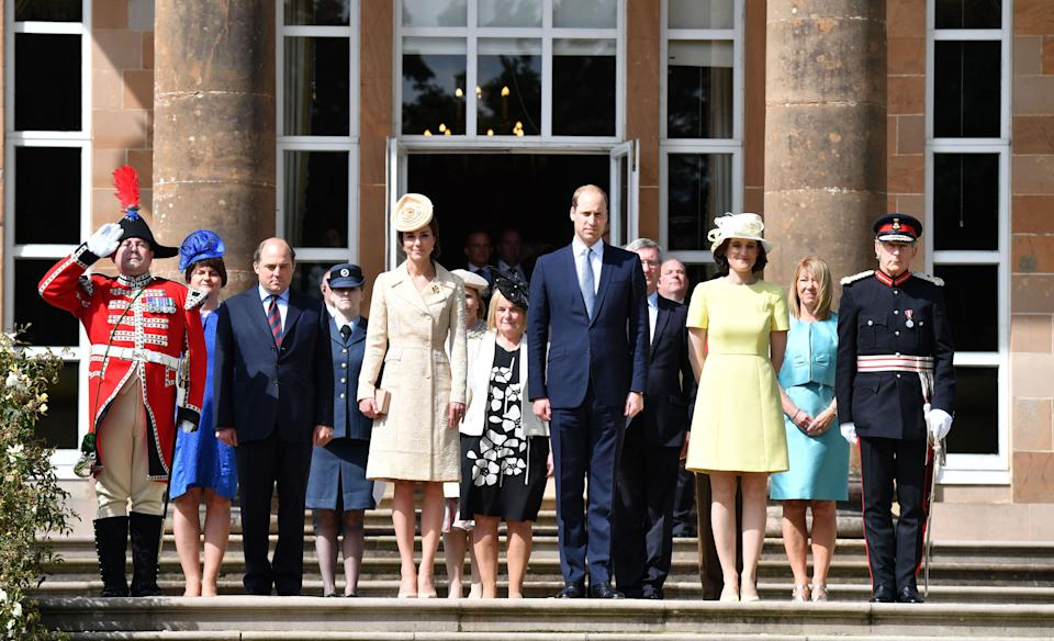 BELFAST, NORTHERN IRELAND - JUNE 14:  Catherine, Duchess of Cambridge and Prince William, Duke of Cambridge attend the Secretary of State's annual Garden party at Hillsborough Castle on June 14, 2016 in Belfast, Northern Ireland.  (Photo by UK Press Pool/UK Press via Getty Images)