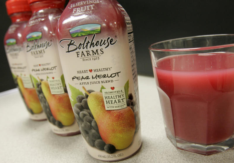 In a photo taken March 6, 2009 in Minneapolis, a pear-merlot juice blend from Bolthouse Farms is shown. The drink will become the first consumer product to hit grocery stores this month containing Cargill's Barliv barley betafiber. (AP Photo/Jim Mone)