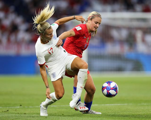 Rachel Daly of England is challenged by Lindsey Horan of the USA during the 2019 FIFA Women's World Cup France Semi Final match between England and USA at Stade de Lyon on July 02, 2019 in Lyon, France. (Photo by Maddie Meyer - FIFA/FIFA via Getty Images)