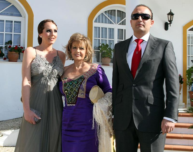 SEVILLE, SPAIN - APRIL 09: (L-R) Rocio Carrasco, Maria Teresa Campos and Fidel Albiac attend Chayo Mohedano and Andres Fernandez wedding at Yerbabuena country house on April 9, 2011 in Seville, Spain. (Photo by Europa Press/Europa Press via Getty Images)