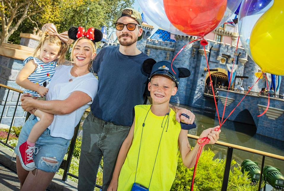 <p>Hilary Duff and husband Matthew Koma enjoy a Disney day at Sleeping Beauty's Castle with Banks, 2, and Luca, 9, in Anaheim.</p>
