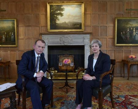 Britain's Prime Minister Theresa May speaking on the Marr Show on BBC television at her official country residence Chequers in Buckinghamshire, Britain, June 17, 2018. Jeff Overs/BBC/Handout via REUTERS