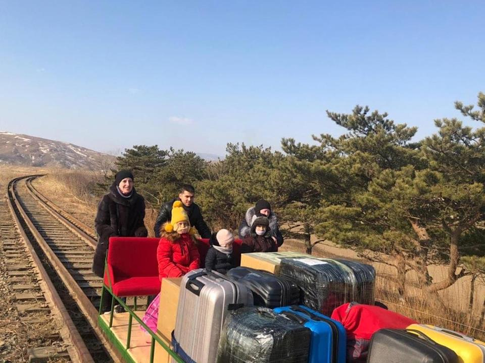 A group of Russian citizens, including a diplomat and his family, used a hand-pushed rail trolley to cross North Korea's border back into Russia. / Credit: Russian Foreign Ministry