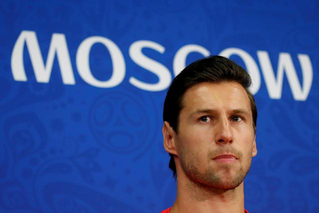 Soccer Football - World Cup - Poland Press Conference - Spartak Stadium, Moscow, Russia - June 18, 2018 Poland's Grzegorz Krychowiak during the press conference REUTERS/Maxim Shemetov