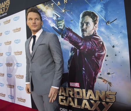"Cast member Pratt poses at the premiere of ""Guardians of the Galaxy"" in Hollywood"